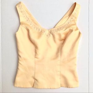 Alexia Design Yellow Deep-V Evening Top